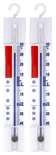 Lantelme 2 Stück Kühlschrank Thermometer Set analog mit Haken auch für Kühlgeräte wie Gefrierschrank und Kühltruhe 3292