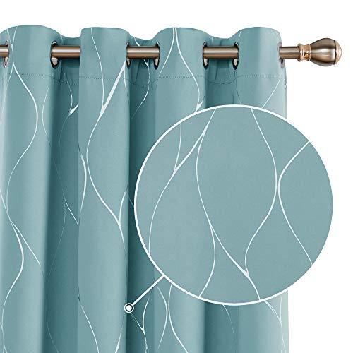 Deconovo Blickdichte Gardinen Verdunkelungsvorhänge mit Ösen Thermogardinen Wohnzimmer 229x117 cm Himmelblau 2er Set