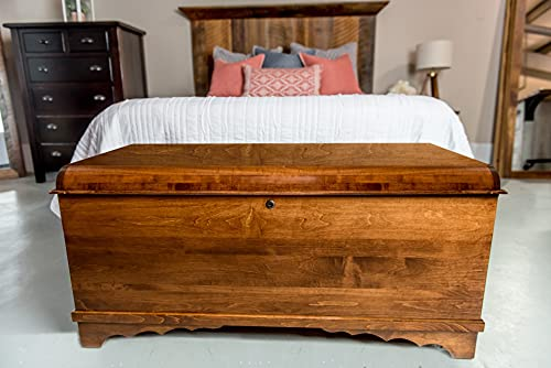 """46"""" Cedar Hope Chest with Waterfall Top – Amish Cedar Chest w/Anti-Slam Hinges – Hope Chest with Lock – Blanket Chest - Cedar Chests and Trunks for Blankets (Brown Maple Wood, Asbury Stain, 46"""" Long)"""