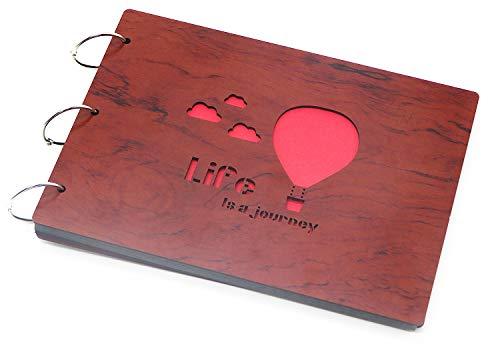 Smiling Art Fotoalbum zum selbst gestalten/basteln, Fotoalbum zum einkleben, DIY Scrapbook, Fotobuch, Tagebuch, Reisebuch, Vintage Style mit einem Deckblatt aus MDF Holz (Journey, 27x20 cm)