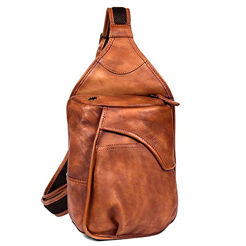 AJMINI Gym Bags Mens Sling Bag Leather Crossbody Backpack Shoulder Chest Bag Casual Daypack for Outdoor Cycling Travelling Hiking Running Friend's gift