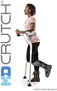 "Forearm Crutches, 1 Pair Hands-Free Crutch Cane with Ergonomic Design - Two Walking Support Crutches, Adult Fit (4'11""- 6'8"") Adjustable Crutches, Mobility Support Injury/Disability/Elderly (White)"