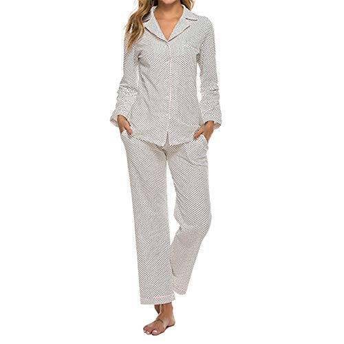 Alavo Pijama cárdigan de algodón para mujer, de manga larga, traje de ropa para el hogar, a rayas, lunares, casual, camisón para dormir, blanco, M