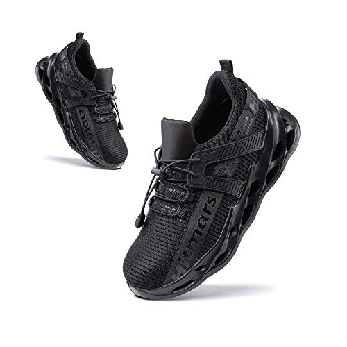 Zapatos de Seguridad Hombre Punta de Acero Botas de Seguridad Mujer Deportiva Zapatillas Trabajo Unisex Antideslizante Respirable Negro Talla 44