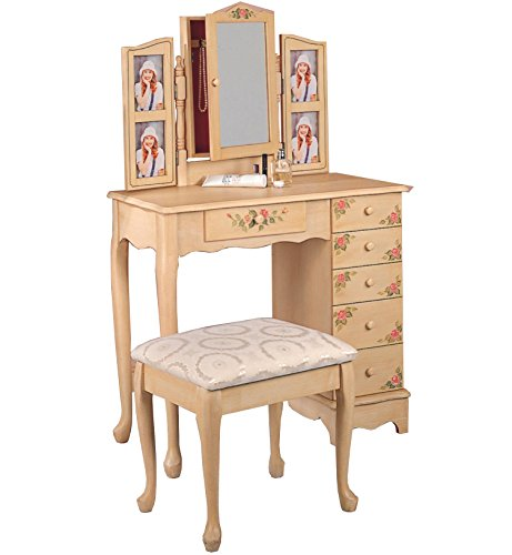 Hot Sale Coaster Queen Anne Style Vanity Table and Stool/Bench Set, Hand Painted