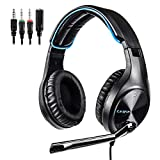 LETTON Stereo Gaming Headset for PS4, PC, Xbox One Controller, Noise Cancelling Over Ear Headphones with Mic, Bass Surround, Soft Memory Earmuffs for Laptop Mac Nintendo Switch Games (L6-Blue)