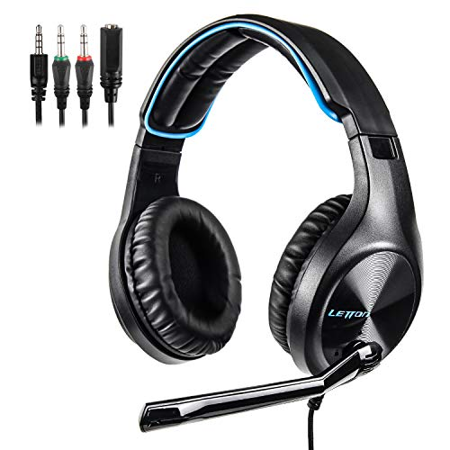 LETTON Stereo Gaming Headset for Xbox One, PS4, PC, Over Ear Headphones with Noise Cancelling Mic, Volume Controller, Bass Surround, Soft Memory Earmuffs for Computer Laptop Mac