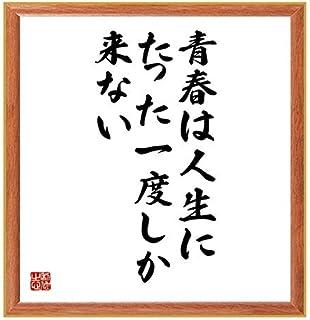 書道色紙/ロングフェローの名言『青春は人生にたった一度しか来ない』/薄茶額付/受注後直筆(千言堂)