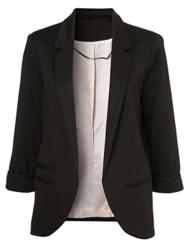 SEBOWEL Formal Blazer Women Casual Work Plus Size Tailored Cardigan Jacket Coat Black