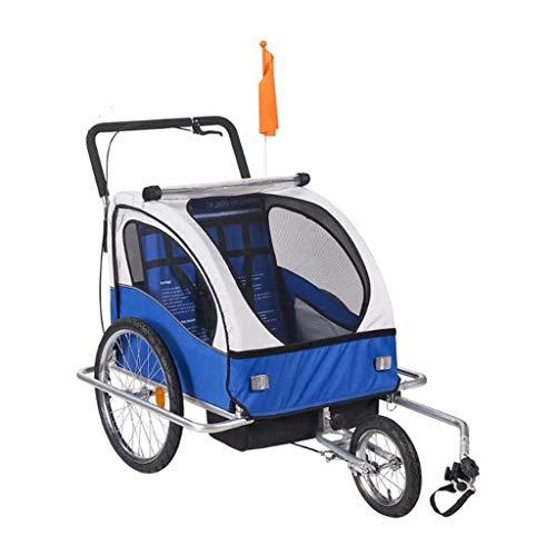 Kinder-Fahrradanhänger Einzel- und Doppel Passagier Kinder faltbare Tow Behind-Fahrrad-Anhänger mit Rückspeicherabteil (Color : Blue)