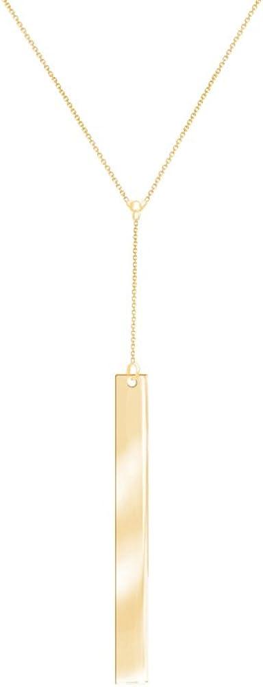 Bar Y Neck Necklace, 14Kt Gold Bar Y Necklace 18
