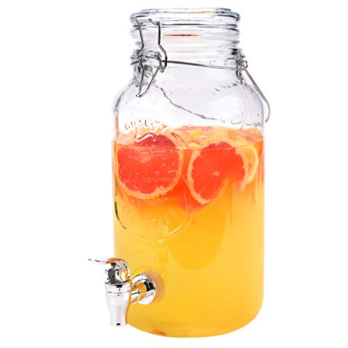 AETKFO Dispensador de Bebidas con Grifo,Dispensador de Cerveza Vidrio Dispensador Bebida Cristal Tarro con Grifo Transparente para Verano, Fiesta, Jardín