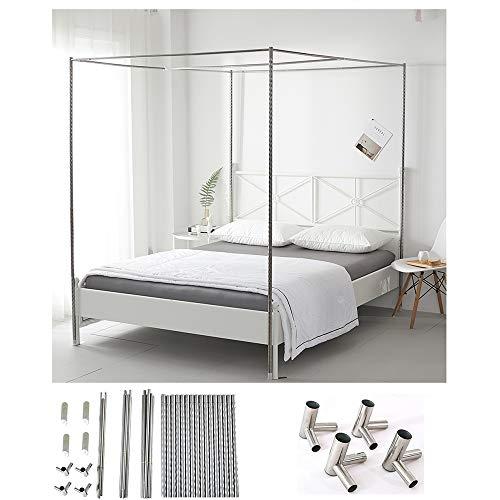 HOXMOMA Upgrade Bed Canopy Bracket, Edelstahlmastrahmen für Moskitonetz, Verdickter Spiralmuster-Bettständer mit starken Metall-T-Anschlüssen,24mm,1.35×2m Bed