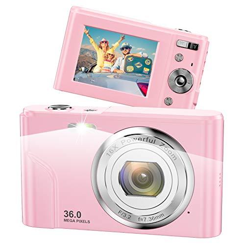 Vnieetsr Cámara Digital, 1080P Full HD 36 Megapixel 16X Zoom Cámara compacta con Pantalla LCD IPS Cámara de Bolsillo para niños, Estudiantes, Adolescentes, fotografía para Principiantes