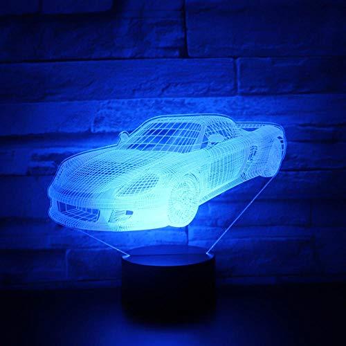 Lampada Illusion 3D Led Luce Notturna Music Sports Car Roadster Racing Bike con 7 colori Decorazione Incredibile vista della casa, regalo di Natale di compleanno di una ragazza