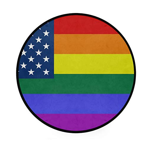 FANTAZIO Alfombra Redonda con diseño de Bandera de Estados Unidos y arcoíris, Alfombra Antideslizante para el Suelo para el Patio o la habitación Familiar
