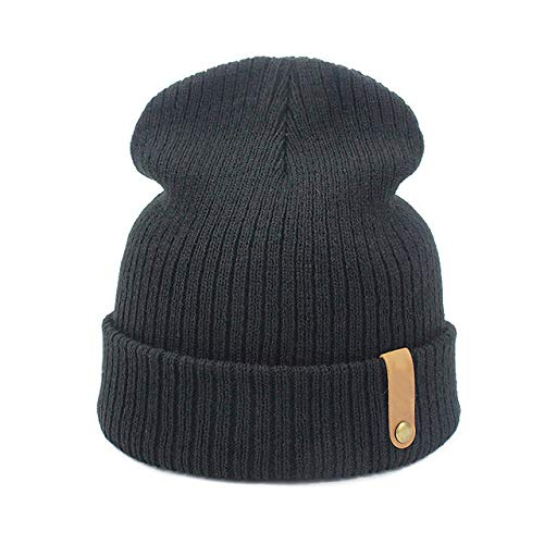 ERIOG Sombrero De Punto Cap Crochet Otoño Invierno Mujeres Hombres Unisex Gorros De Punto Gorras Sombreros Sólido Verde Negro Blanco Pasamontañas Gorros Sombrero