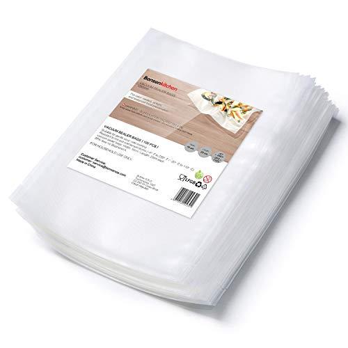 Bonsenkitchen Bolsas de Vacio para Alimentos, 16x23cm 100 Bolsas Tamaño Estándar para Envasadora al Vacío - Bolsa de Vacío Gofradas para Conservación y Cocción Sous Vide & Boilable -VB8906