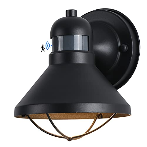Motion Sensor Outdoor LED Porch Wall Light Fixtures Dusk to Dawn Exterior Barn Wall Lantern Black Farmhouse Sconce Lighting Wall Mount Lamp for Garage Patio Balcony Doorway