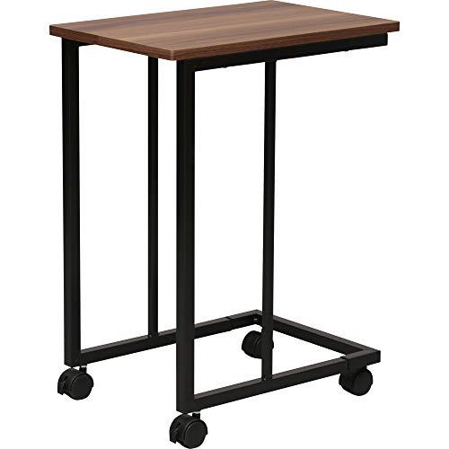 アイリスプラザ テーブル サイドテーブル アジャスター キャスター付き コの字型デザイン 木目調 ウォールナット 幅約30×奥行約45×高さ約60cm STB-C001WN