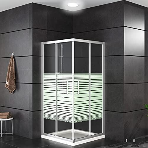 Oimex OT Eckeinstieg Duschkabine ohne Tasse 80x80 oder 90x90, 180 cm mit Verstellbereich, Echtglas, Schiebetüren mit Rollen, Größe: 90 x 90 x 180cm, Farbe: Mit Streifen