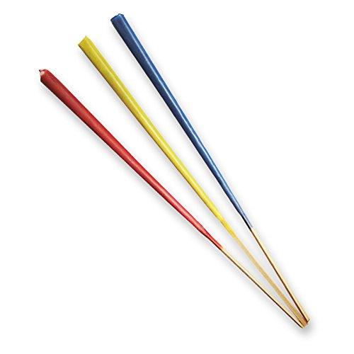 OLShop AG 5er Pack Gartenfackeln aus Wachs in blau, rot, gelb (5 x 3 Stück) Länge ca. 70 cm mit Citronella-Duft, Partyfackel, Balkonfackel, Fackel