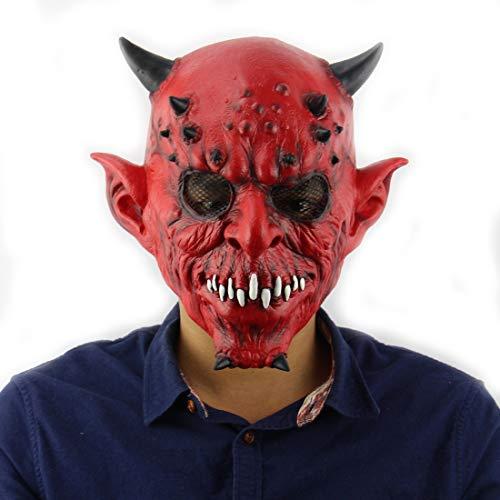 DUBAOBAO Halloween-Maske, Inferno Exotische Halloween-Ball Haunted House Bar Horror-Set-Kopf Latex Maske Halloween Maske Teufel Latex