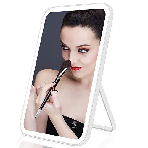 Colist Makeup Mirror Beleuchteter Kosmetik-Kosmetikspiegel 3-Farben-Beleuchtung Einstellbare LED-Beleuchtung mit 5-fachem Vergrößerungsspiegel für Tisch- / Arbeitsplatten- oder Badezimmer-Wandmontage