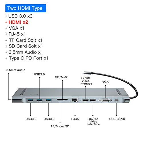 DZSF 11 Poorten in 1 USB Type C HUB naar 3.0 USB HDMI RJ45 USB HUB voor Macbook Pro Accessoires USB Splitter Multi Type C HUB USB-C HUB