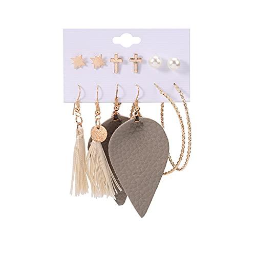 1 pieza de pendientes para niñas, pendientes de aro con borla y perlas cruzadas