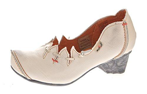 TMA Damen Ballerinas Echt Leder Pumps Comfort Leder Schuhe Weiß-Creme Slipper TMA 8787 Gr. 39