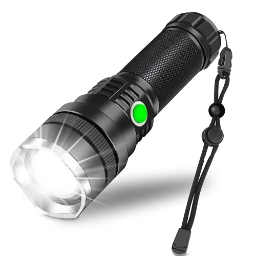 Rechargeable LED Flashlight,10000 Lumen Super Bright Tactical Flashlights,Zoomable,3 Modes,Emergencies Waterproof Flashlight with Lanyard,Suitable for Daily Household and Outdoor