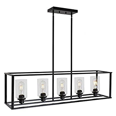 VINLUZ Rectangle Dining Room Chandelier Classic Pendant Lighting for Kitchen Island,Chrome Finish with Clear Glass Shade Adjustable Height Hanging Ceiling Light