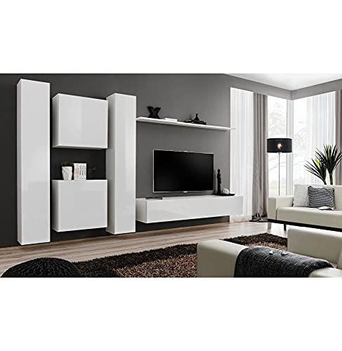 ASM Ensemble TV Mural - 6 éléments - Blanc