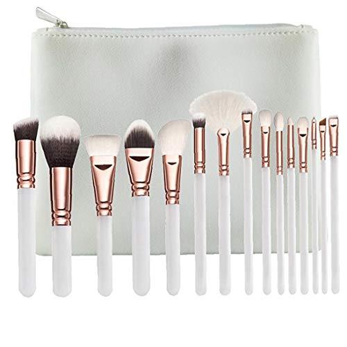 15PCS / SET Pinceaux Kit synthétique Maquillage cheveux Brosses fard à paupières de teint en poudre Brosses Outils de beauté avec Sac (Blanc)