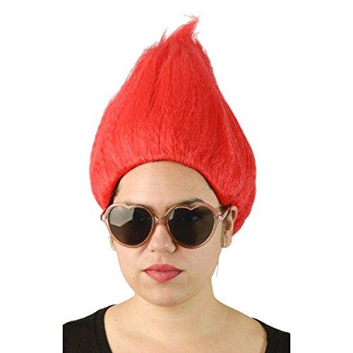 Fun Rouge Adulte Troll perruque Gnome Clown Doll costumes Sports équipe du Dr. Seuss 90 'S