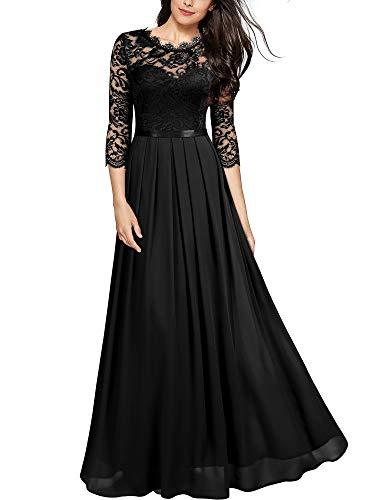 MIUSOL Damen Elegant Halbarm Rundhals Vintage Spitzenkleid Hochzeit Chiffon Faltenrock Langes Kleid Schwarz L
