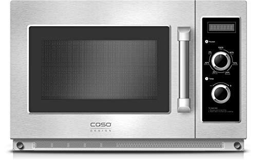 Caso C1800M Gewerbe-Mikrowelle mit Keramikboden, 1800 Watt, 34 L, Innenraum und Gehäuse aus Edelstahl 7 Leistungsstufen, für Großküchen und Gastro