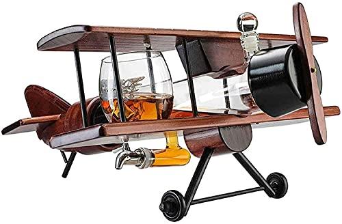 wsbdking Faucet Whisky Decanter Set Wood Airplane Forma Botella de Vino con 2 Copas de Vino 1000ml Alto Borosilicate Craft Whiskey Carafe para LOS Regalos DE HOUSEWARTING