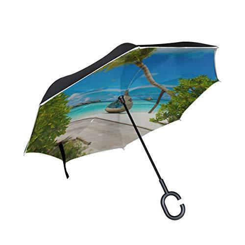 Double Layer Inverted Folding Umbrella Compact Erstaunliches Panorama des Sonnenuntergangs Klappstuhl Regenschirm Klappschirme Winddicht UV-Schutz für Regen Mit C-förmigen Griff
