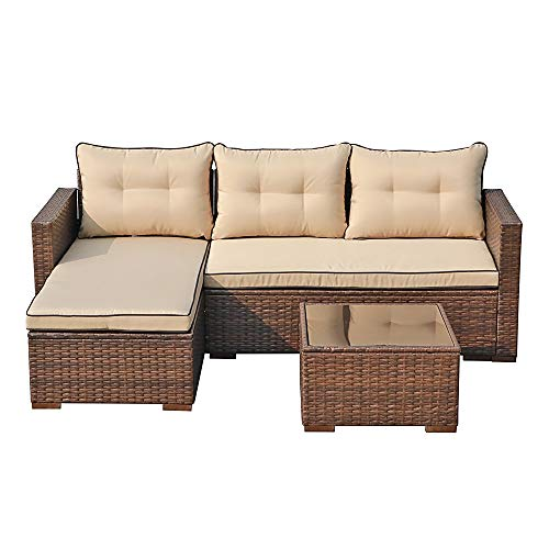 JOIVI Patio Conversation Set, PE Wicker Rattan Outdoor Furniture Set, 2 Ways Sectional Sofa Lounge and Love Seat with Cushions, Tempered Glass Coffee Table, Beige