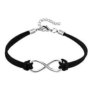 LoEnMe Jewelry Handmade Infinity Leather Bracelet Chain Multicolor Gift for Women Girlfriend Wife Birthday