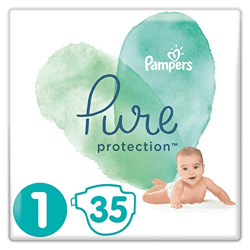 Pampers Pure Protection Größe 1, Tragetasche, hergestellt aus hochwertigen Materialien aus Baumwolle und pflanzlichen Fasern, 2-5 kg, 35 Windeln