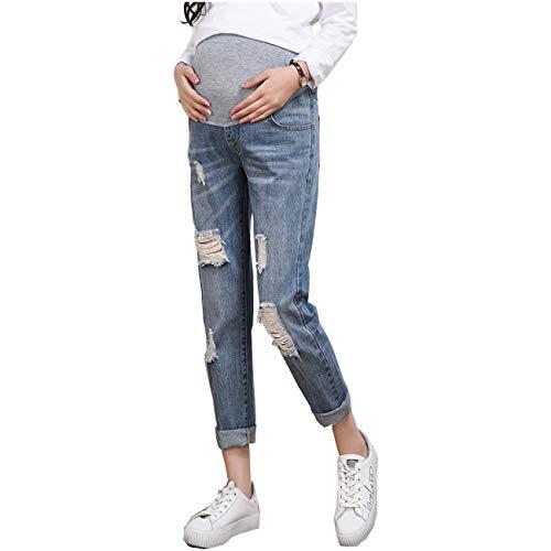 Primavera Autunno Jeans Strappati Donna Pantaloni Premaman Regolabili Denim Blu Gravidanza Estensione Leggings maternità Waistband