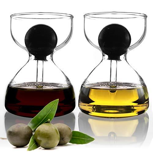 Hector&Dwight DropD'olio Öl und Essig Spender Set mit Glas Pipette - 2er Set mit je 120ml - Perfekt für Ciabatta und Salat