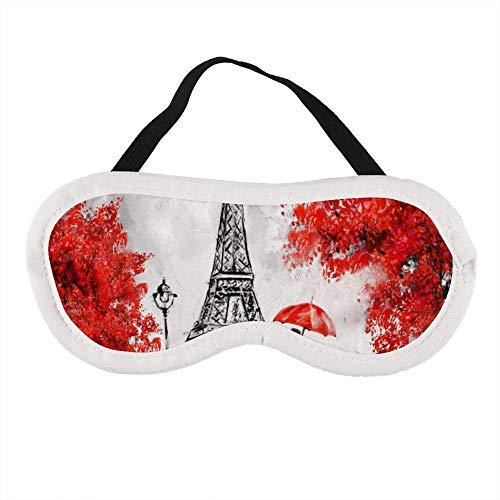 Parijs Liefhebbers Kus in Straat Rode Paraplu Eiffeltoren Slaapoog Masker Slapende Maskers Blinddoek Katoen Oog Kussen Zacht voor Vrouwen Mannen Reizen Naps Gepersonaliseerd