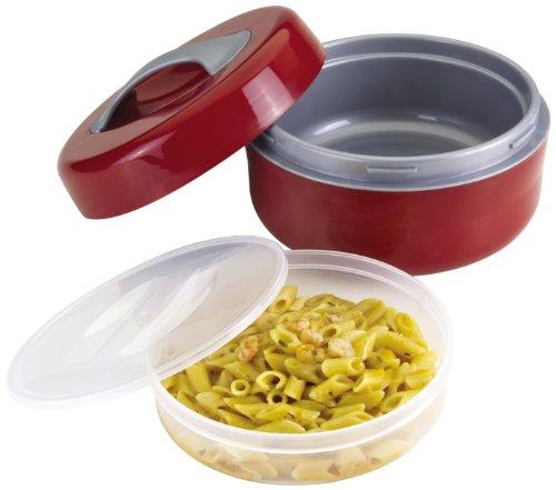 Metaltex 899452 Poseidon - Contenitore per alimenti isolato, 1.5 litri, Rosso/Grigio