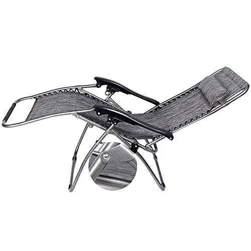 WJXBoos Sillas de jardín Gravedad Cero Tumbonas de jardín Plegables reclinables Silla de Camping al Aire Libre para Exteriores Silla de Camping con Soporte para el Cuello 200 kg (Color: Gris)