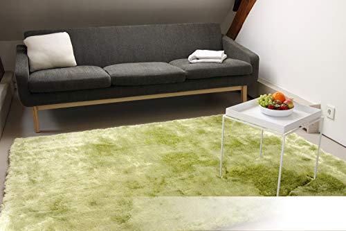 Exklusiver Hochflor Shaggy Teppich Satin grün 80x150 cm - edler, seidig glänzender Teppich