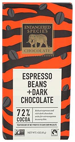 Endangered Species, Espresso Beans Dark Chocolate Wildlife Bar, 3 Ounce